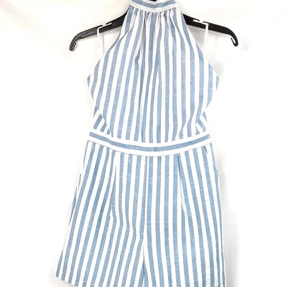 Shein Blue And White Striped Romper Size S…